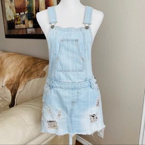 Overalls Distress raw hem mini Dress. Size Large